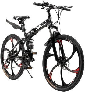 Outroad Mountain Bike Foldable Bike 6 Spoke 21 Speed 26 inch Wheel Double Disc Brake